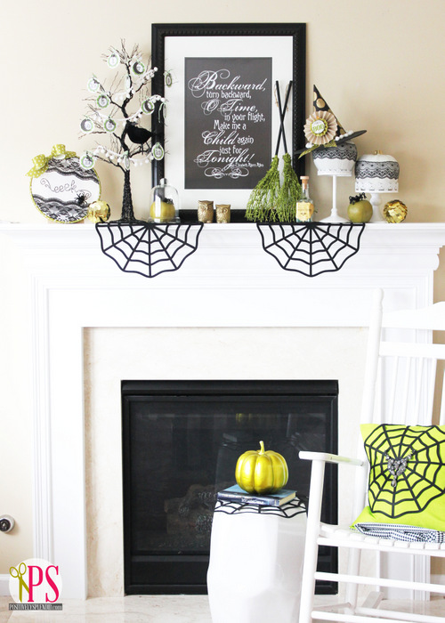Classic halloween mantel decor with pop of neon.