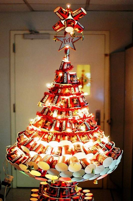 coffee cup christmas tree for budgetery office party at christmas