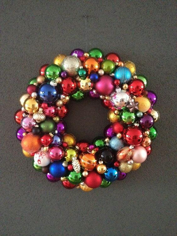 Colorful ornaments wreath for Christmas.