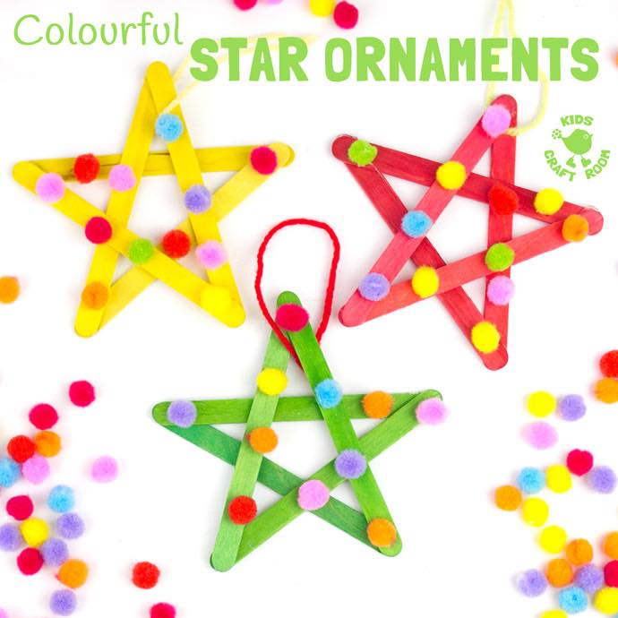 Colorful popsicle stick star ornaments decorated with pom pom.