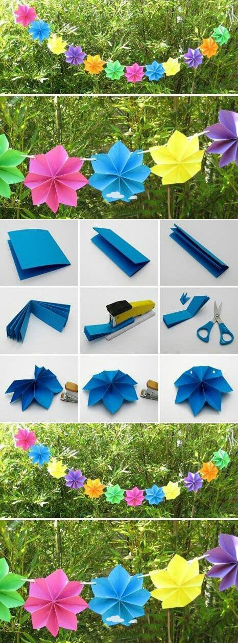 Cool paper flower garland.
