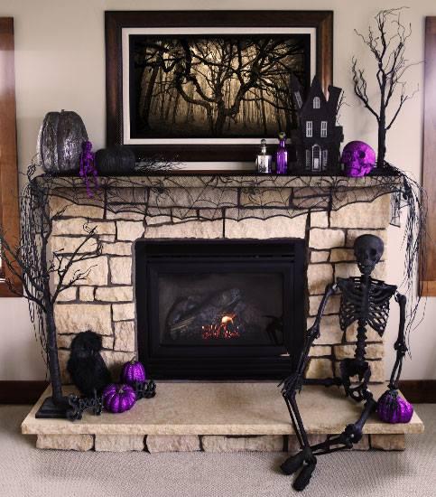 Cool purple and black Hallween mantel decor ideas.