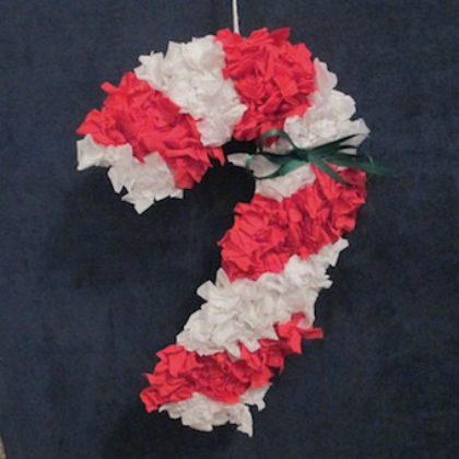 Cool tissue paper candy cane craft.