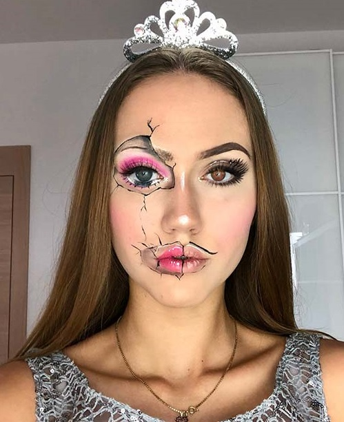 Cracked face doll makeup idea.