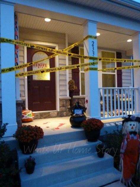 Crime scene for halloween front door decor.