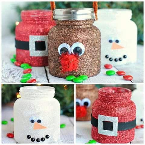 Cute Christmas theme mason jar decoration.