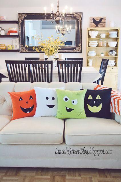 Cute halloween face pillows.