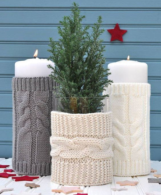 Cute knit candle cover for this winter.