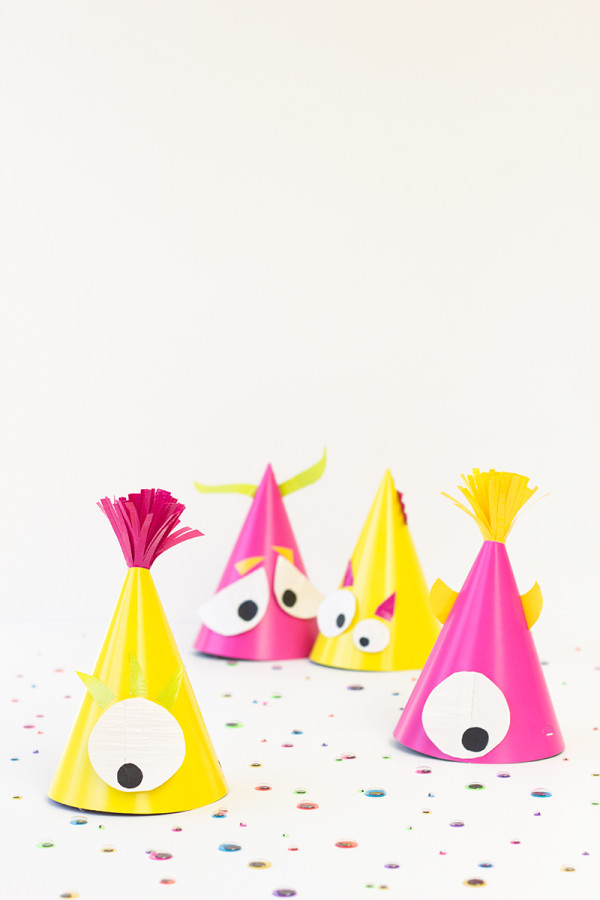 Cute monster party hats.
