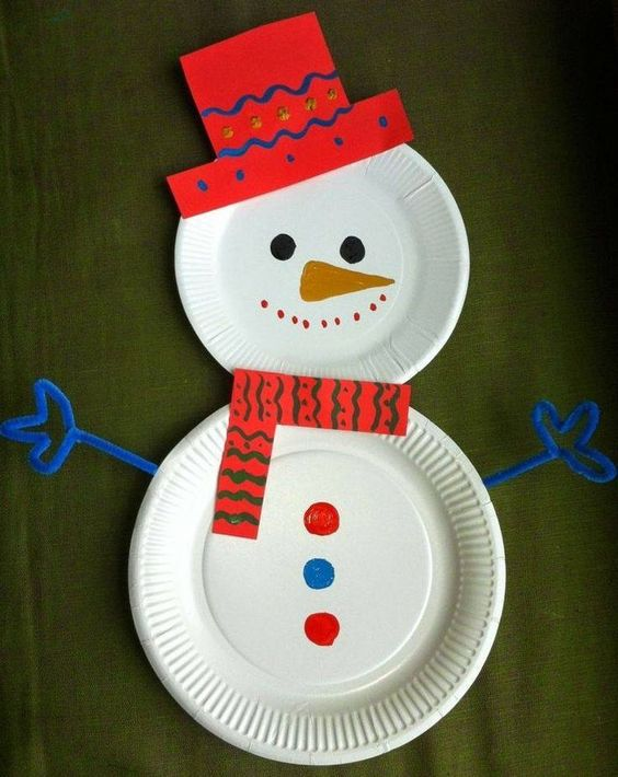 Cute paper plate snowman for kids.