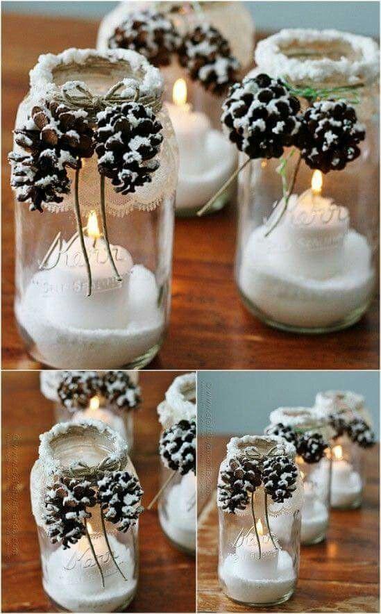 DIY Mason Jar Candle Decoration for Christmas.