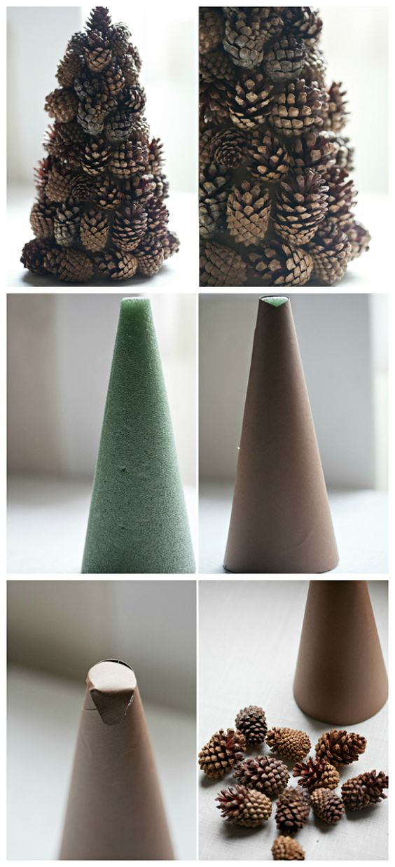 DIY Pinecone tree for Christmas decoration.