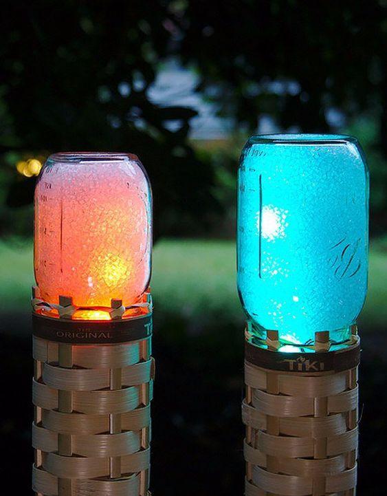 DIY mason jar light decor for Christmas.