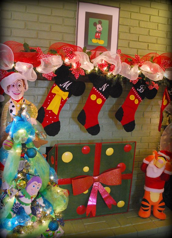DIY mickey mouse red stocking on mantel.