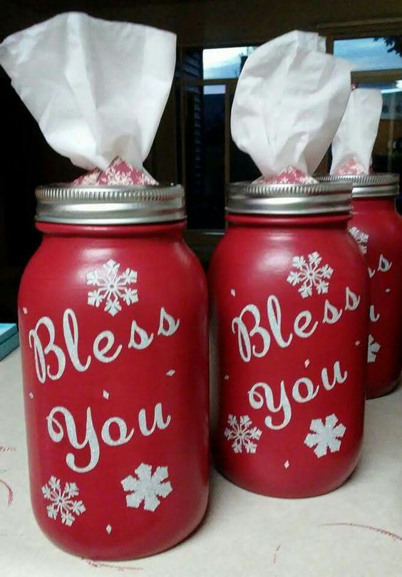 DIY red and white mason jar tissue holder.