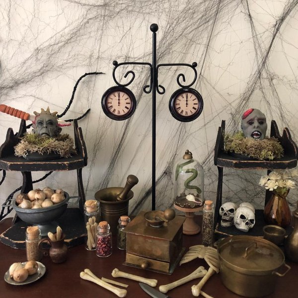 Dark and scary Halloween party decoration idea.