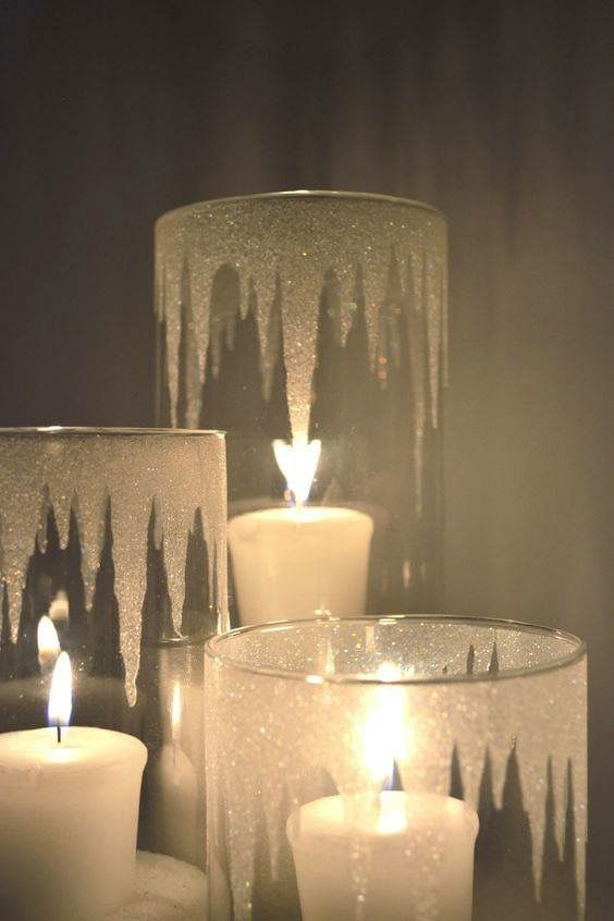 Dashing iced candle holders. Epsom salt crystals inside and frosted glass paint on the outside.