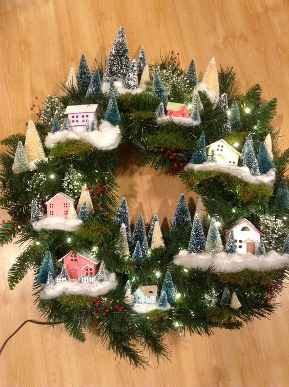 Dashing little village house wreath for Christmas.