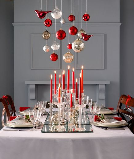 Dashing table decoration with silver, red & white hanging balls and red candles.