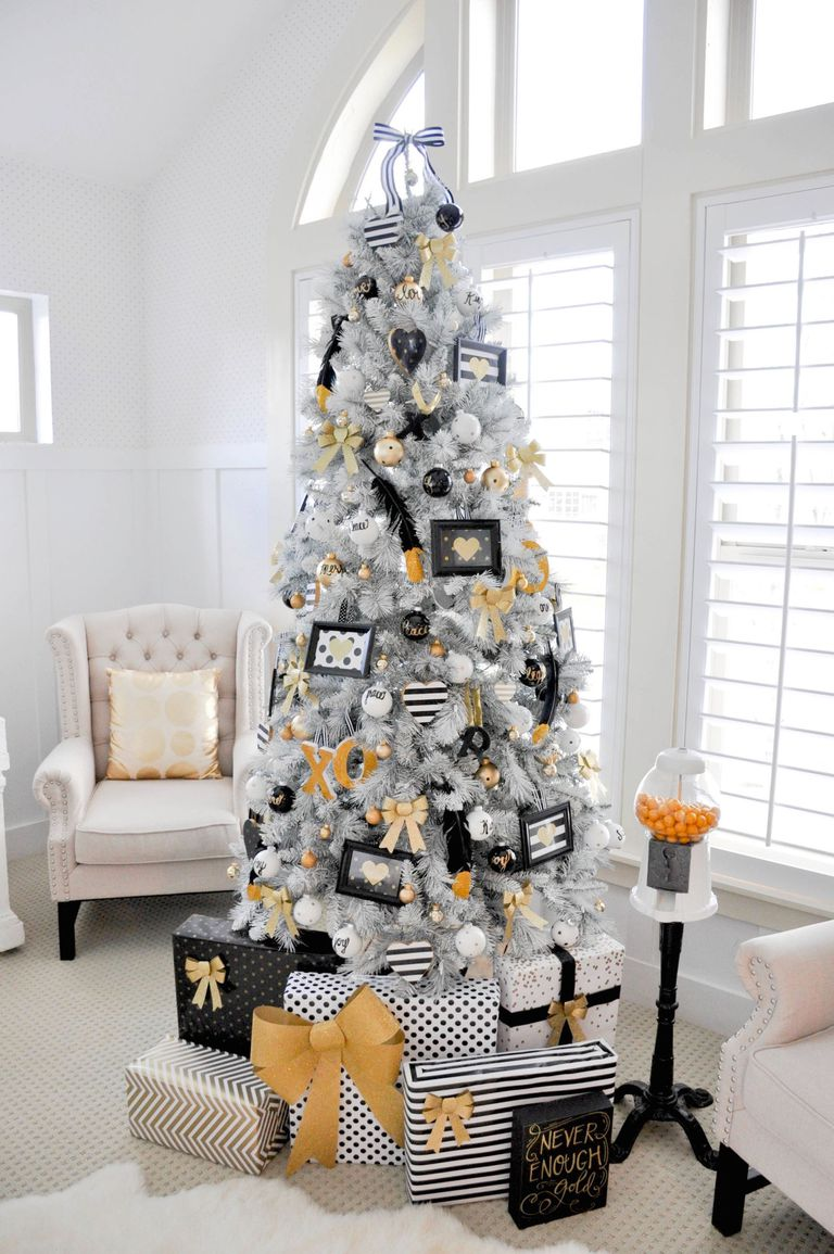 Dazzling black, white and golden Christmas tree.