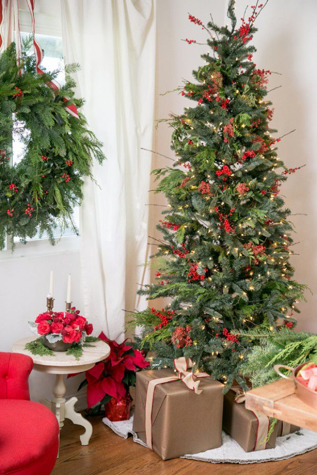 Decorate your Christmas tree with red berries.