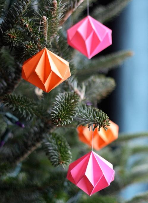 Diamond shape paper ornaments.