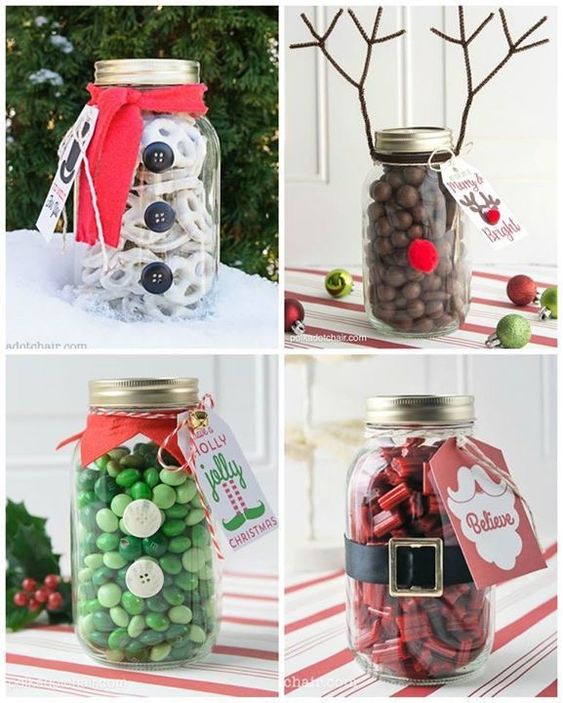 Different types of DIY cookie mason jars as Christmas gifts.