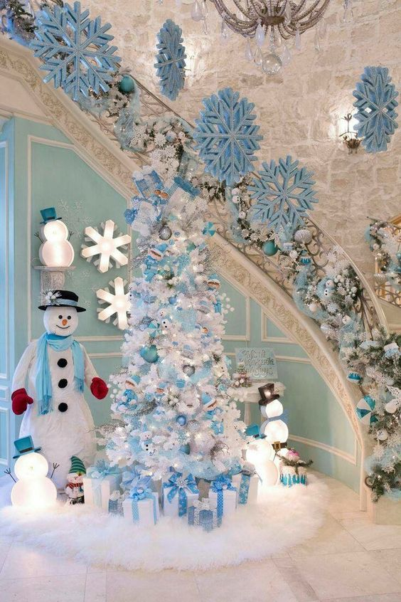 Dreamy blue and white Christmas party home decoration.