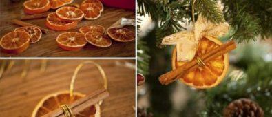 Dry orange and cinnamon Christmas tree hanging.