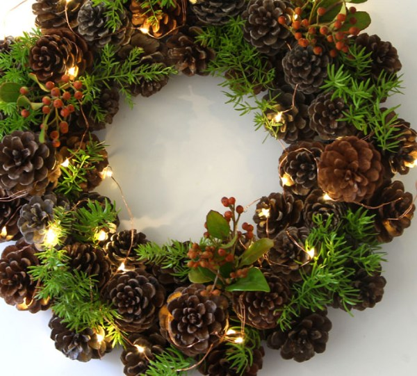 Easy pinecone wreath with lights.