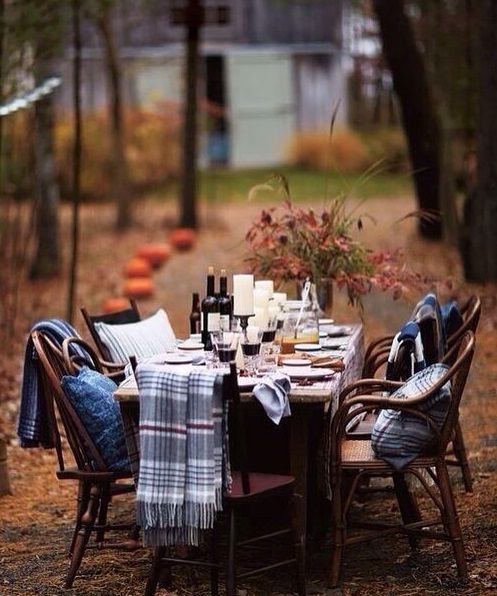 elegant dining table setting for outdoor halloween party