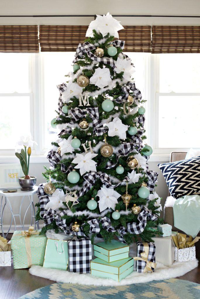 Exclusive Black & white plaid ribbon decor Christmas tree.