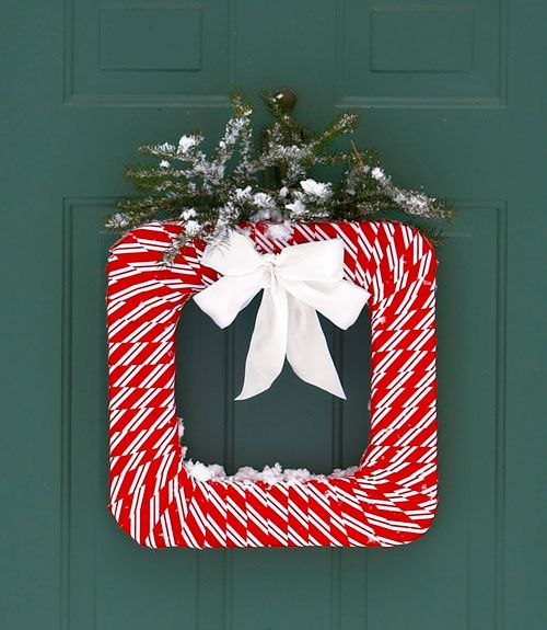 Exclusive red and white front door decoration.