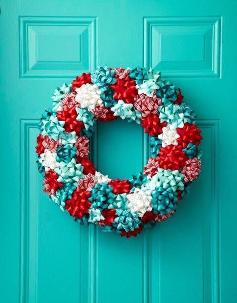 Fabulous Christmas wreath made out of gift bows.