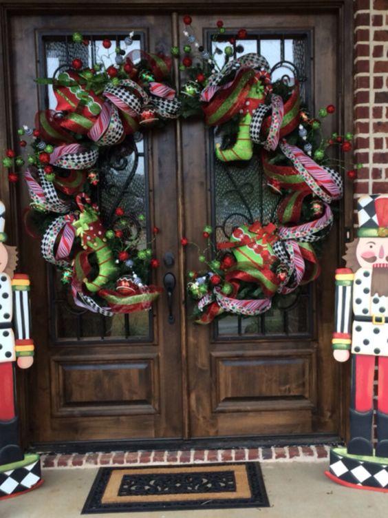 Fabulous big half wreath for double door.