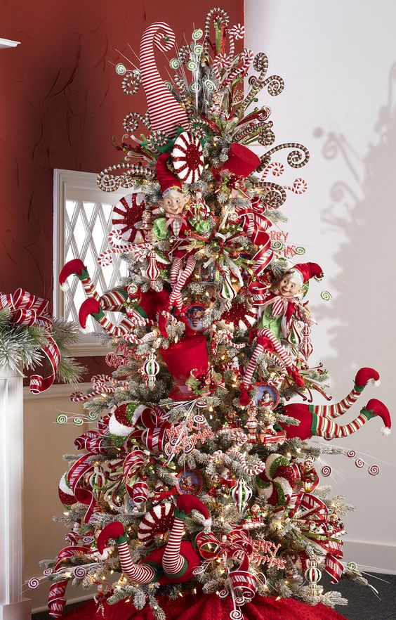 Fabulous peppermint toy Christmas tree.