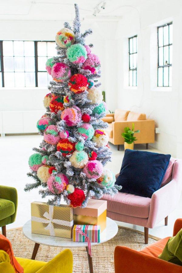 Fabulous pom-pom decoration on Christmas tree.