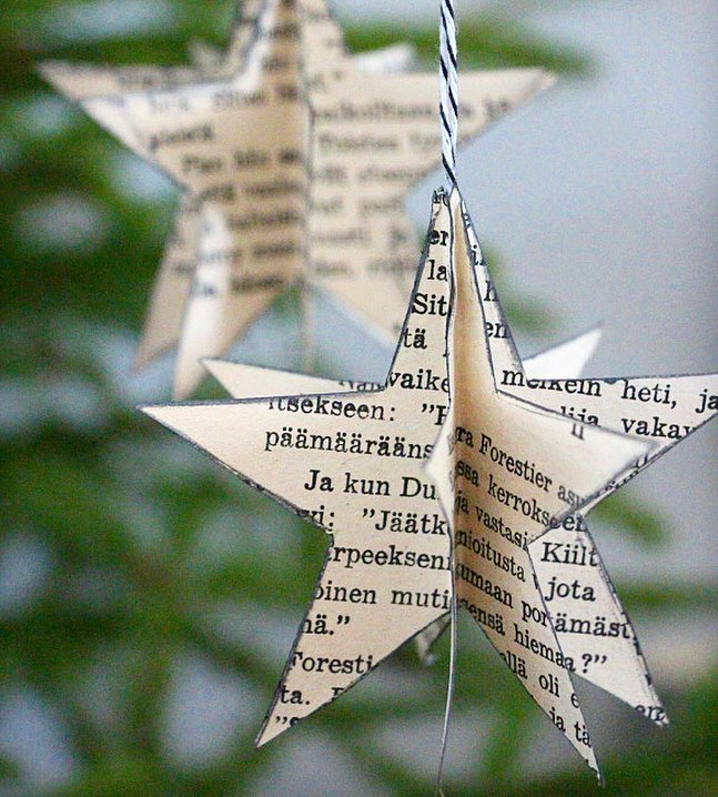 Fabulous star ornament from old books.