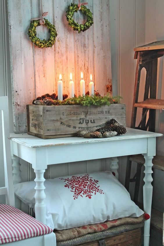 fabulous wooden box candle holder with pinecones wreath pillows and blanket for winter fresh garland sparkling christmas lights - Wooden Box Christmas Decorations