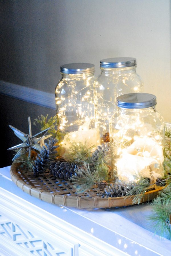 Fairy lights filled in mason jar for Christmas decoration.