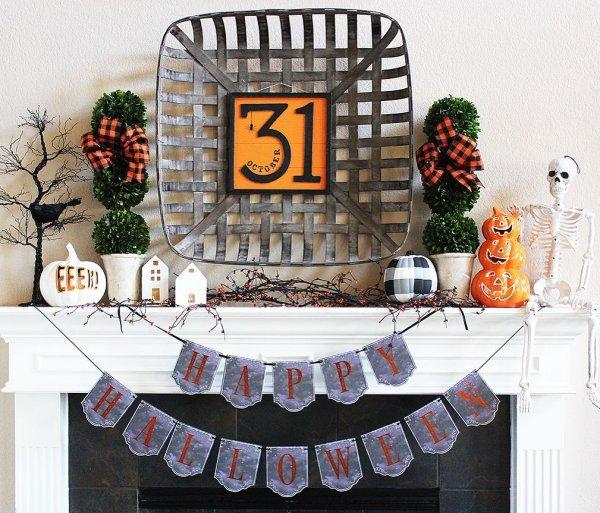 Farmhouse style halloween mantel decoration.