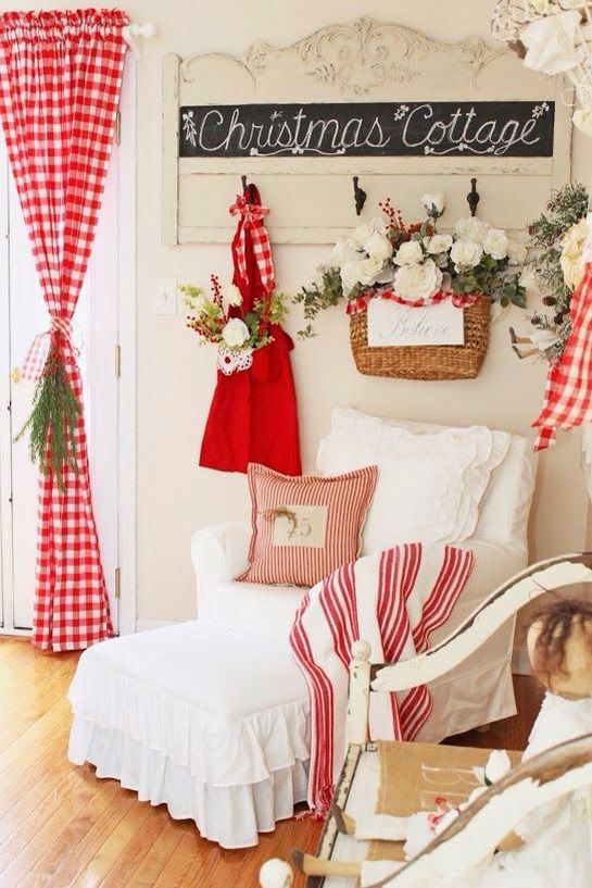 Farmhouse style red and white Christmas decoration.