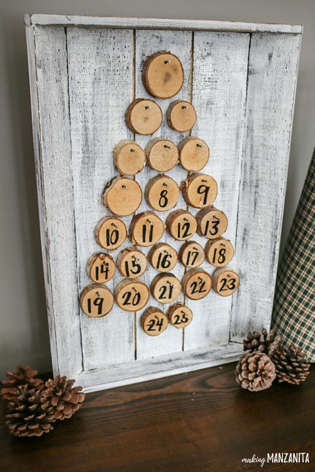 Farmhouse style reusable wooden advent calendar.