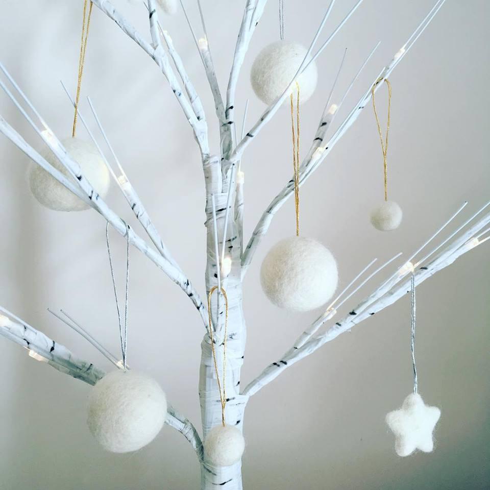 Felt ball snowball and star CHristmas tree ornaments.