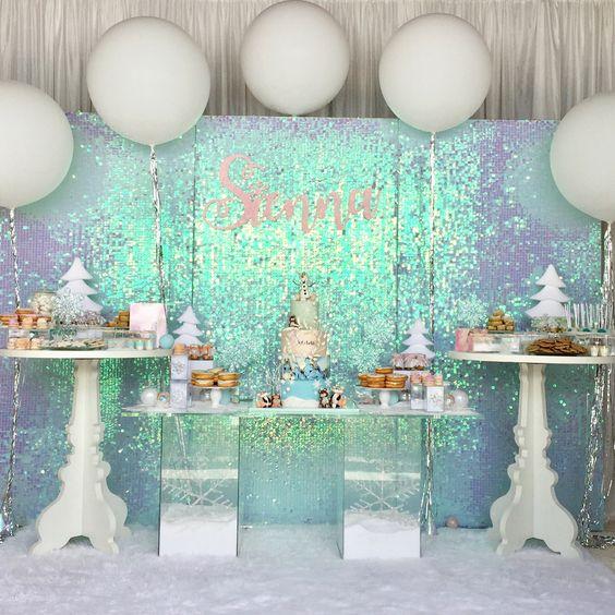 Frozen theme Christmas wonderland party decoration.