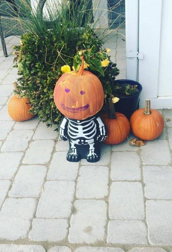 Funny pumpkin head skeleton.