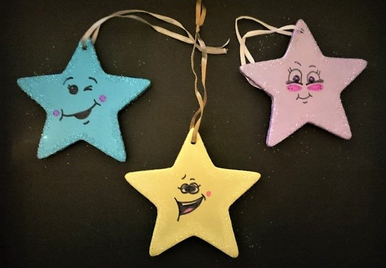 Funny star character Christmas tree ornaments.