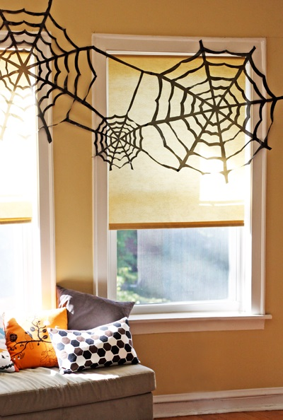 Giant paper spider web for home decor.