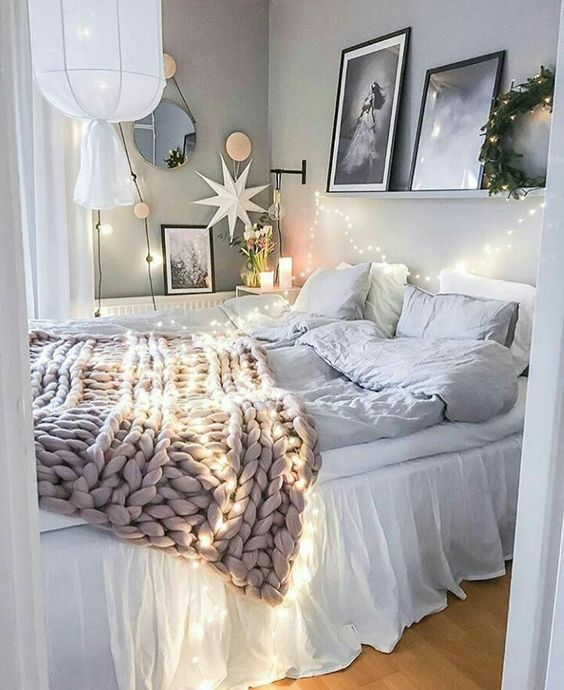Give Soft touch to your bedroom by adding lights and star at this Christmas.