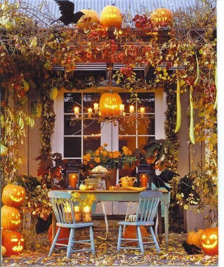 Glamorous Yard Halloween decorations with carved Pumpkins Lights.